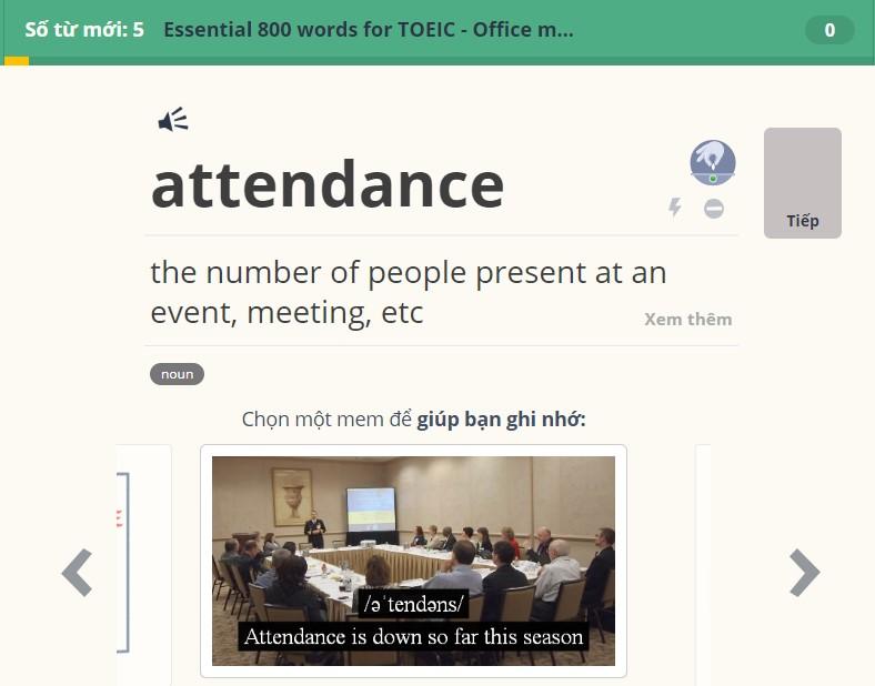 Memrise là ứng dụng học TOEIC cho các bạn đang gặp khó khăn trong việc học từ vựng